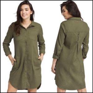 NEW prAna green Yarrow dress utility button front